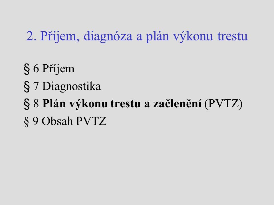 2. Příjem, diagnóza a plán výkonu trestu § 6 Příjem § 7 Diagnostika § 8 Plán výkonu trestu a začlenění (PVTZ) § 9 Obsah PVTZ