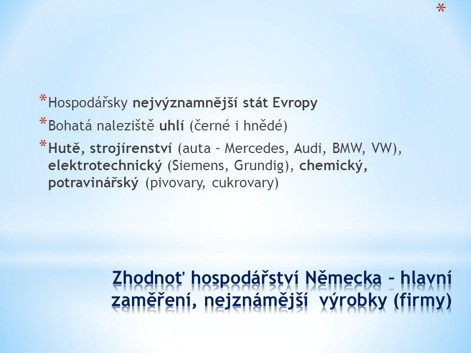 * Hospodářsky nejvýznamnější stát Evropy * Bohatá naleziště uhlí (černé i hnědé) * Hutě, strojírenství (auta – Mercedes, Audi, BMW, VW), elektrotechnický (Siemens, Grundig), chemický, potravinářský (pivovary, cukrovary)