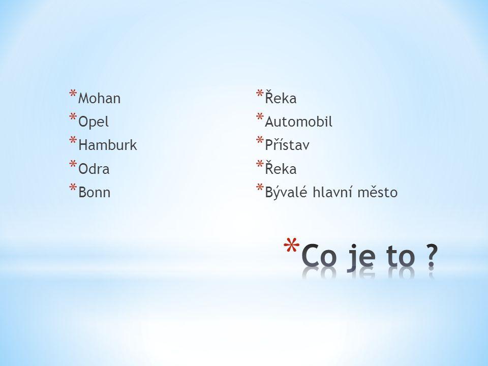 * Mohan * Opel * Hamburk * Odra * Bonn * Řeka * Automobil * Přístav * Řeka * Bývalé hlavní město