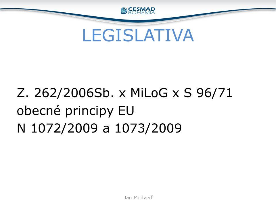 LEGISLATIVA Z. 262/2006Sb. x MiLoG x S 96/71 obecné principy EU N 1072/2009 a 1073/2009 Jan Medveď