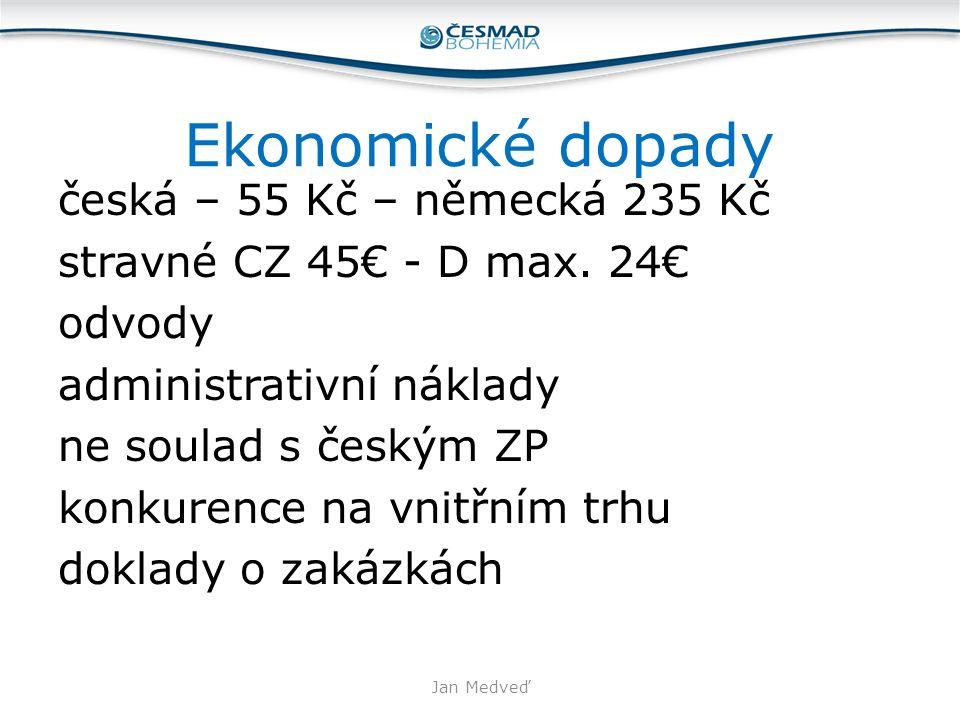 Ekonomické dopady česká – 55 Kč – německá 235 Kč stravné CZ 45€ - D max. 24€ odvody administrativní náklady ne soulad s českým ZP konkurence na vnitřn