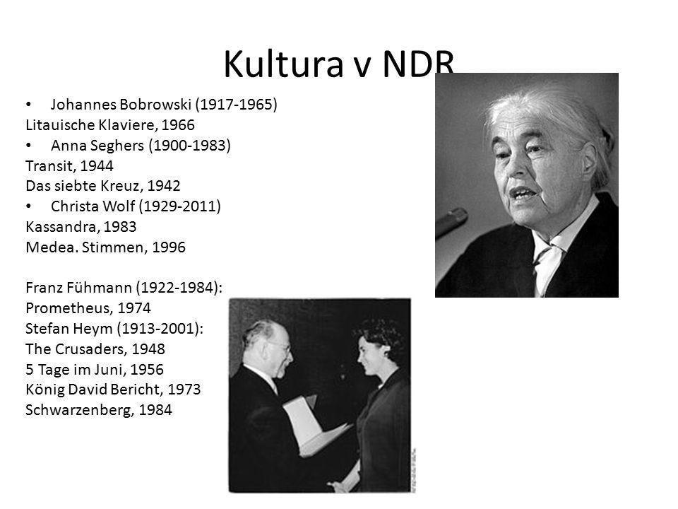 Kultura v NDR Johannes Bobrowski (1917-1965) Litauische Klaviere, 1966 Anna Seghers (1900-1983) Transit, 1944 Das siebte Kreuz, 1942 Christa Wolf (1929-2011) Kassandra, 1983 Medea.