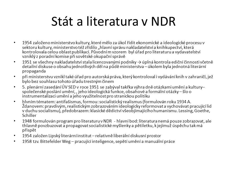 """Stát a literatura v NDR 1954 založeno ministerstvo kultury, které mělo za úkol řídit ekonomické a ideologické procesu v sektoru kultury, ministerstvo též zřídilo """"hlavní správu nakladatelství a knihkupectví, která kontrolovala celou oblast publikací."""