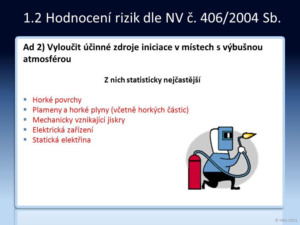© IHAS 2011 Ad 2) Ad 2) Vyloučit účinné zdroje iniciace v místech s výbušnou atmosférou Z nich statisticky nejčastější  Horké povrchy  Plameny a hor