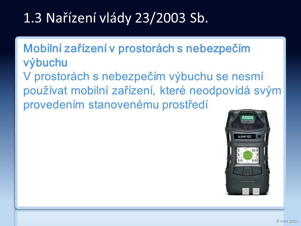 © IHAS 2011 Mobilní zařízení v prostorách s nebezpečím výbuchu V prostorách s nebezpečím výbuchu se nesmí používat mobilní zařízení, které neodpovídá