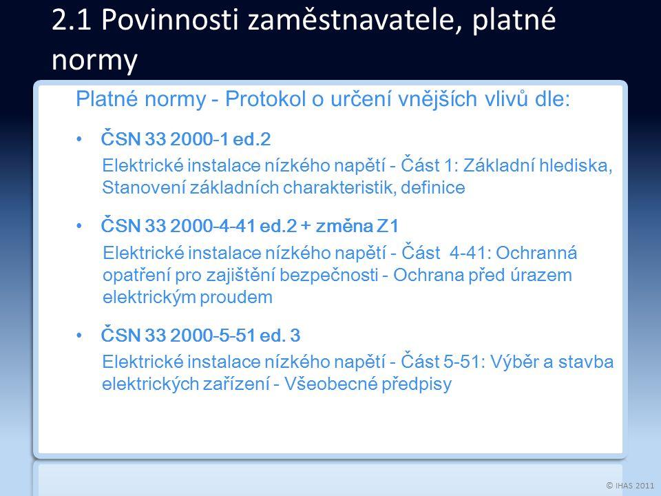 © IHAS 2011 Platné normy - Protokol o určení vnějších vlivů dle: ČSN 33 2000-1 ed.2 Elektrické instalace nízkého napětí - Část 1: Základní hlediska, S
