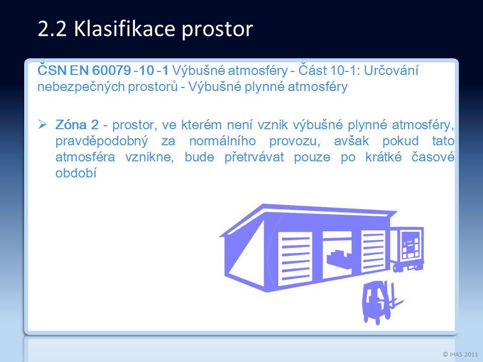 © IHAS 2011 ČSN EN 60079 -10 -1 Výbušné atmosféry - Část 10-1: Určování nebezpečných prostorů - Výbušné plynné atmosféry  Zóna 2 - prostor, ve kterém