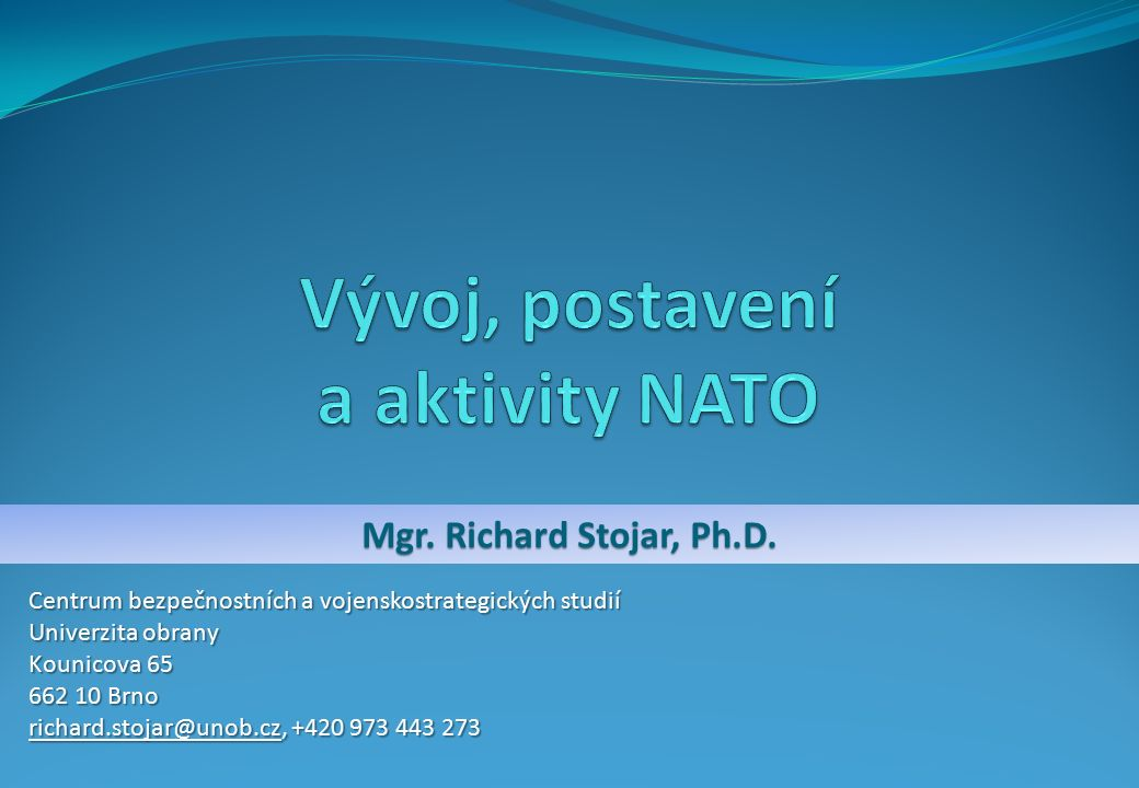 Mgr. Richard Stojar, Ph.D.