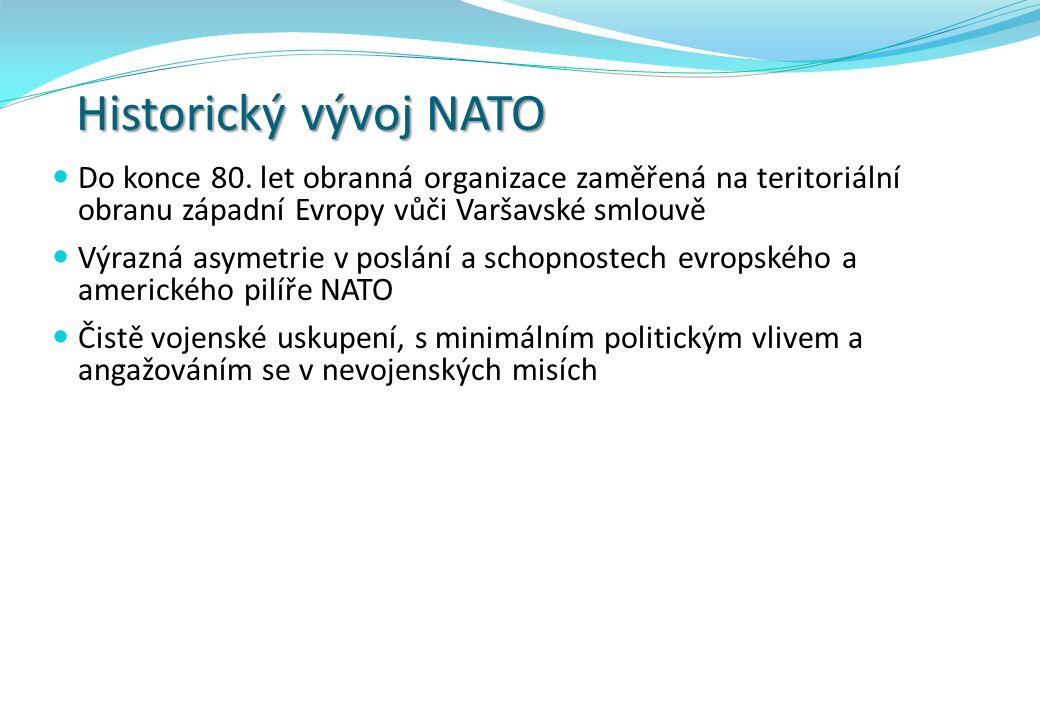 Historický vývoj NATO Do konce 80. let obranná organizace zaměřená na teritoriální obranu západní Evropy vůči Varšavské smlouvě Výrazná asymetrie v po