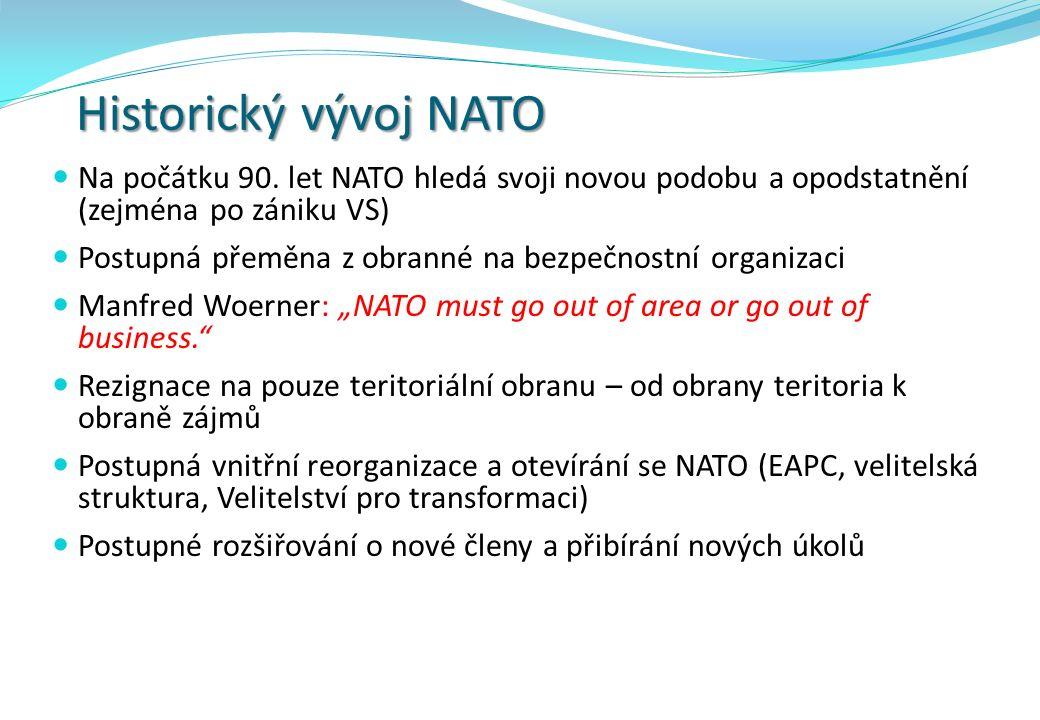 Historický vývoj NATO Na počátku 90. let NATO hledá svoji novou podobu a opodstatnění (zejména po zániku VS) Postupná přeměna z obranné na bezpečnostn