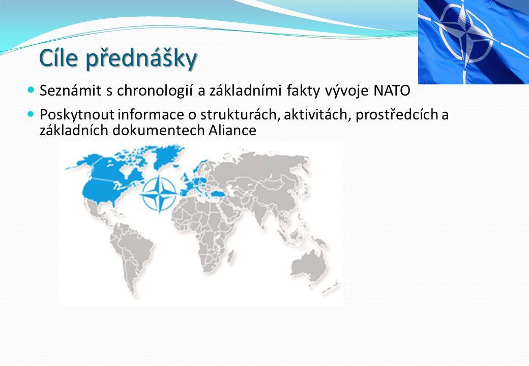Cíle přednášky Seznámit s chronologií a základními fakty vývoje NATO Poskytnout informace o strukturách, aktivitách, prostředcích a základních dokumentech Aliance