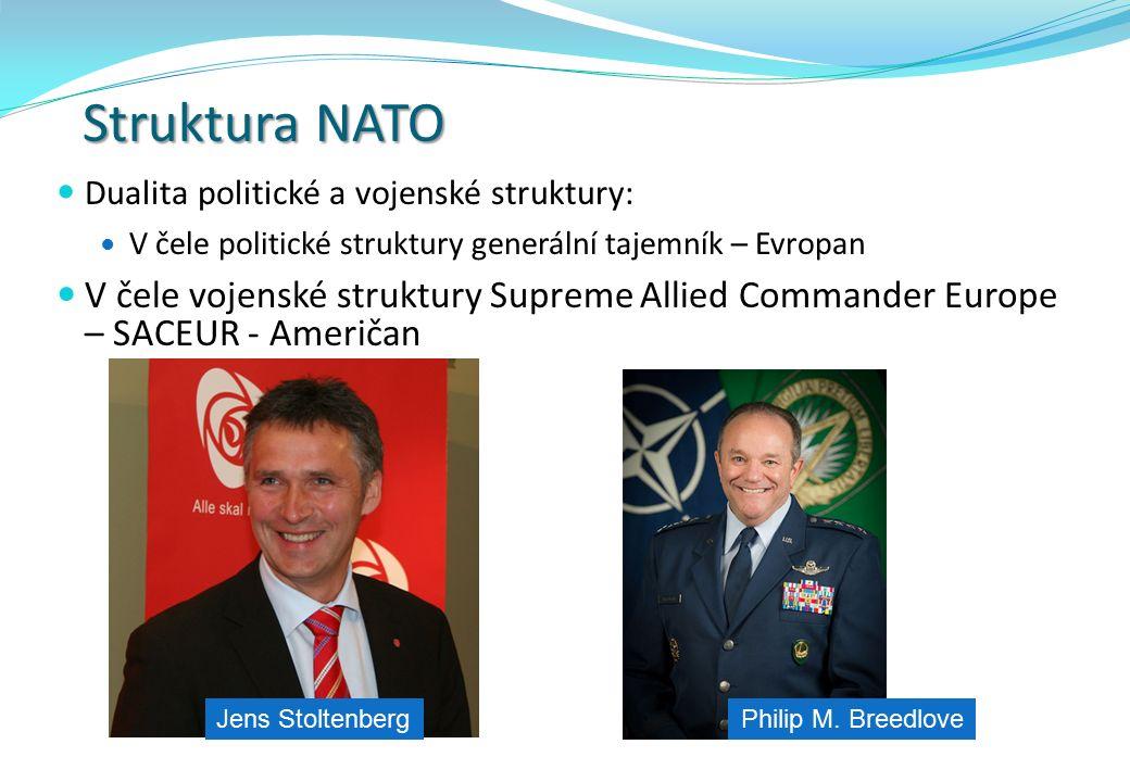 Struktura NATO Dualita politické a vojenské struktury: V čele politické struktury generální tajemník – Evropan V čele vojenské struktury Supreme Allie