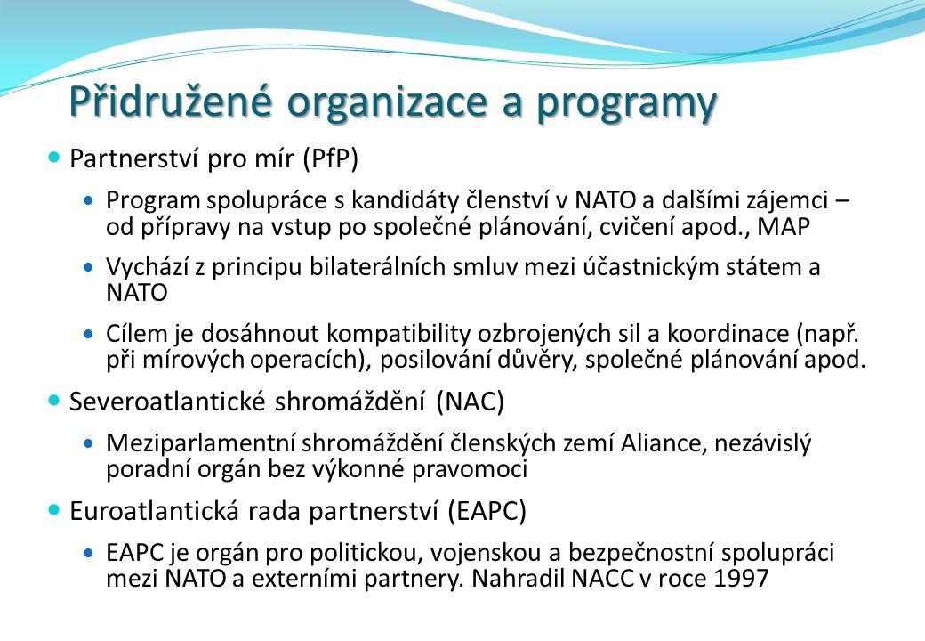 Přidružené organizace a programy Partnerství pro mír (PfP) Program spolupráce s kandidáty členství v NATO a dalšími zájemci – od přípravy na vstup po
