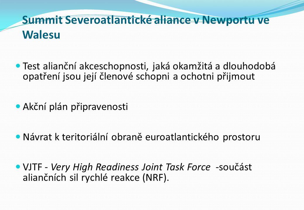 Summit Severoatlantické aliance v Newportu ve Walesu Test alianční akceschopnosti, jaká okamžitá a dlouhodobá opatření jsou její členové schopni a ochotni přijmout Akční plán připravenosti Návrat k teritoriální obraně euroatlantického prostoru VJTF - Very High Readiness Joint Task Force -součást aliančních sil rychlé reakce (NRF).