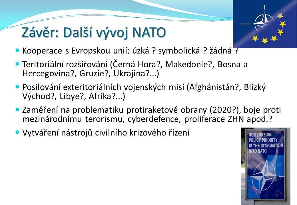 Závěr: Další vývoj NATO Kooperace s Evropskou unií: úzká ? symbolická ? žádná ? Teritoriální rozšiřování (Černá Hora?, Makedonie?, Bosna a Hercegovina