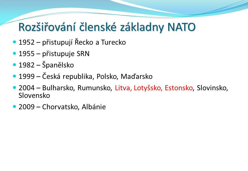 Rozšiřování členské základny NATO 1952 – přistupují Řecko a Turecko 1955 – přistupuje SRN 1982 – Španělsko 1999 – Česká republika, Polsko, Maďarsko 2004 – Bulharsko, Rumunsko, Litva, Lotyšsko, Estonsko, Slovinsko, Slovensko 2009 – Chorvatsko, Albánie