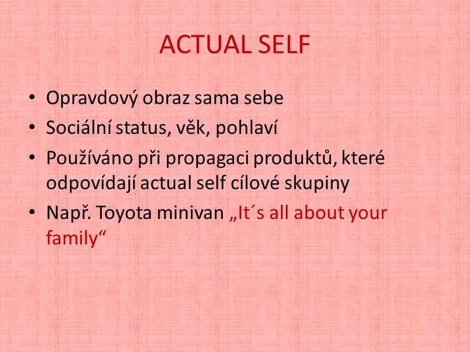 ACTUAL SELF Opravdový obraz sama sebe Sociální status, věk, pohlaví Používáno při propagaci produktů, které odpovídají actual self cílové skupiny Např.