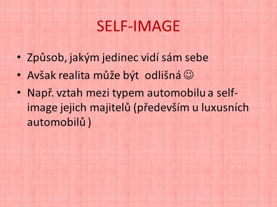 SELF-IMAGE Způsob, jakým jedinec vidí sám sebe Avšak realita může být odlišná Např.