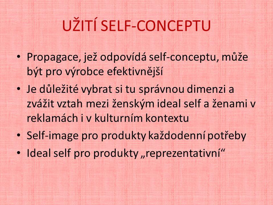 """UŽITÍ SELF-CONCEPTU Propagace, jež odpovídá self-conceptu, může být pro výrobce efektivnější Je důležité vybrat si tu správnou dimenzi a zvážit vztah mezi ženským ideal self a ženami v reklamách i v kulturním kontextu Self-image pro produkty každodenní potřeby Ideal self pro produkty """"reprezentativní"""
