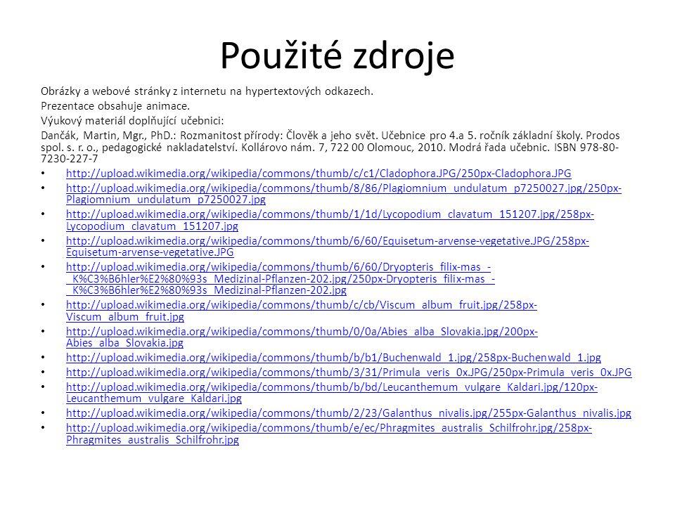 Použité zdroje Obrázky a webové stránky z internetu na hypertextových odkazech. Prezentace obsahuje animace. Výukový materiál doplňující učebnici: Dan