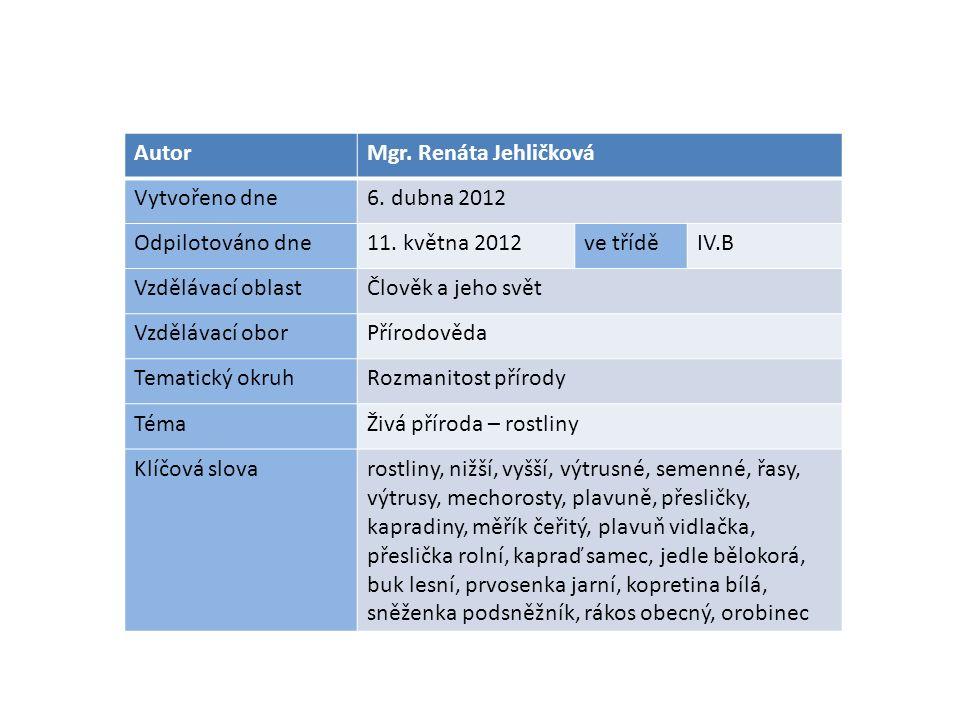 AutorMgr. Renáta Jehličková Vytvořeno dne6. dubna 2012 Odpilotováno dne11. května 2012ve tříděIV.B Vzdělávací oblastČlověk a jeho svět Vzdělávací obor