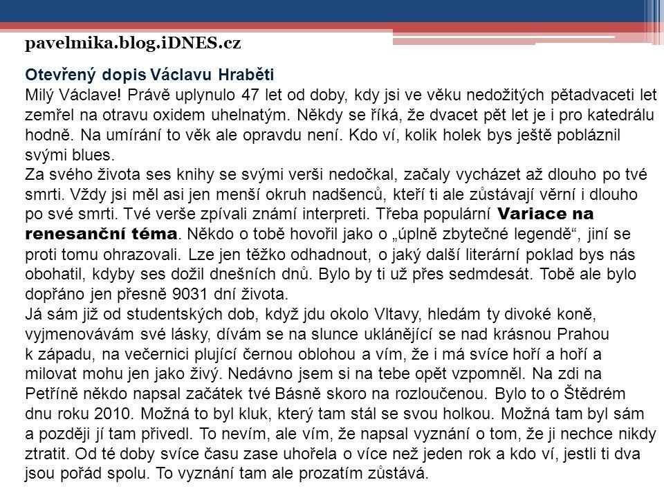 Otevřený dopis Václavu Hraběti Milý Václave.