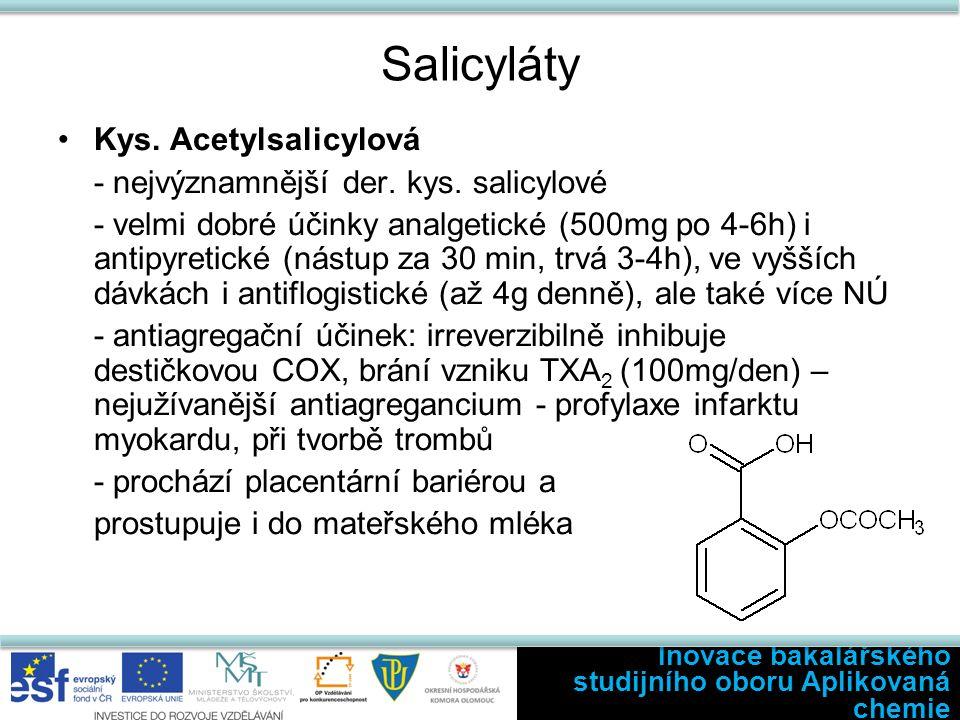Salicyláty Kys. Acetylsalicylová - nejvýznamnější der.