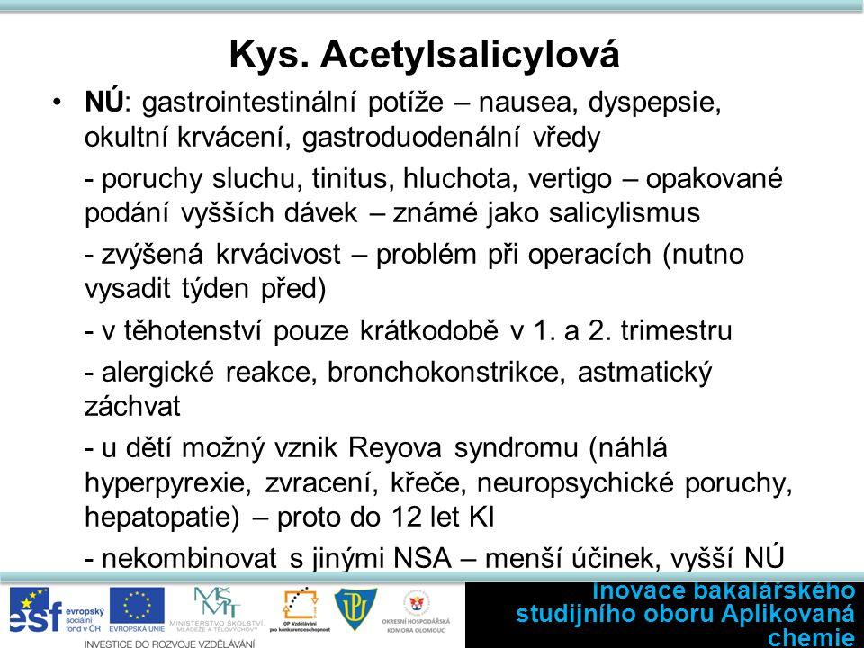 Kys. Acetylsalicylová NÚ: gastrointestinální potíže – nausea, dyspepsie, okultní krvácení, gastroduodenální vředy - poruchy sluchu, tinitus, hluchota,
