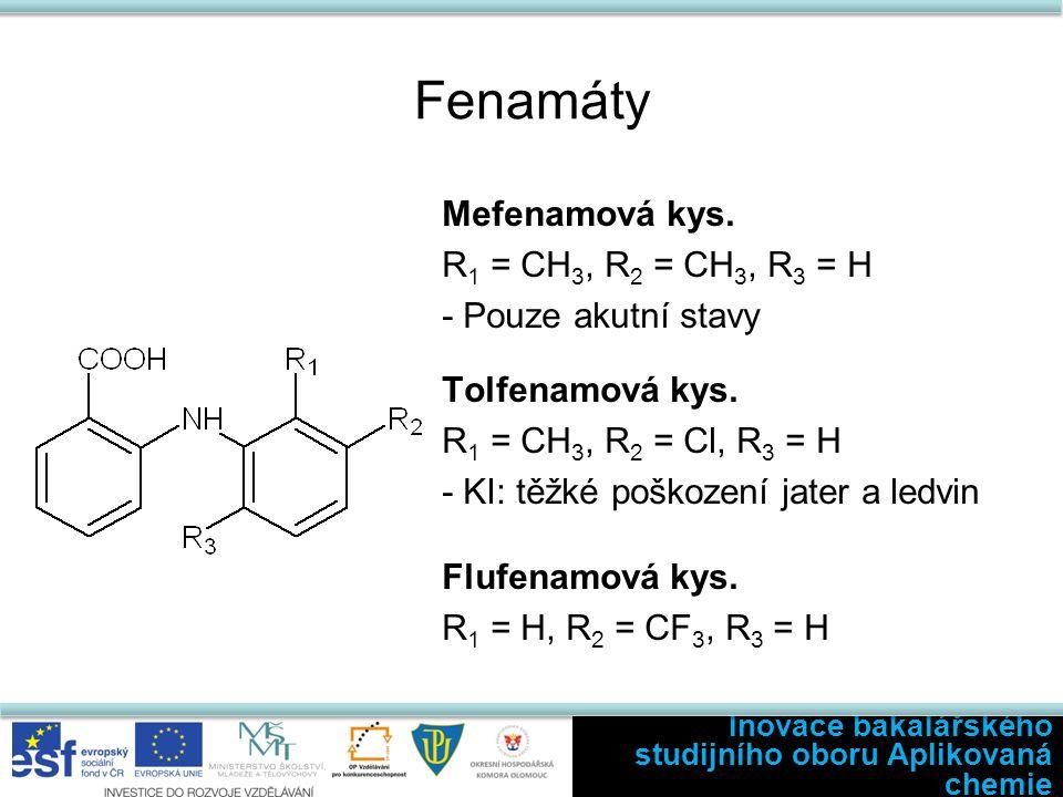 Fenamáty Mefenamová kys. R 1 = CH 3, R 2 = CH 3, R 3 = H - Pouze akutní stavy Tolfenamová kys.