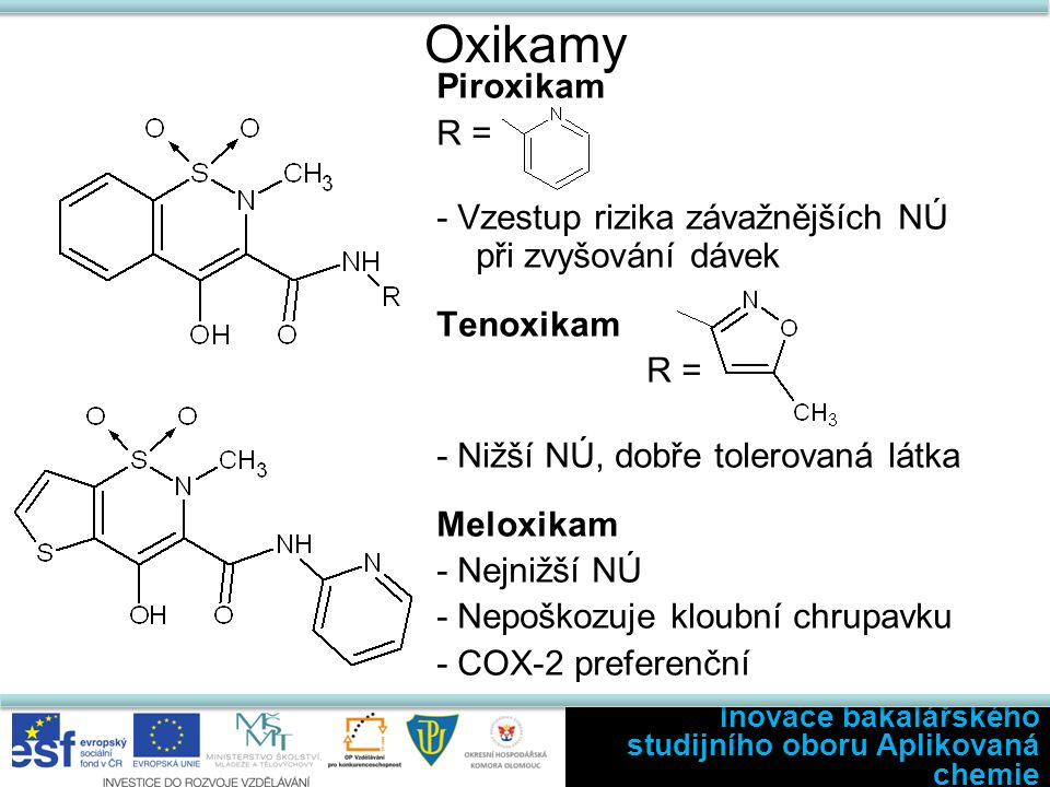 Oxikamy Piroxikam R = - Vzestup rizika závažnějších NÚ při zvyšování dávek Tenoxikam R = - Nižší NÚ, dobře tolerovaná látka Meloxikam - Nejnižší NÚ - Nepoškozuje kloubní chrupavku - COX-2 preferenční Inovace bakalářského studijního oboru Aplikovaná chemie