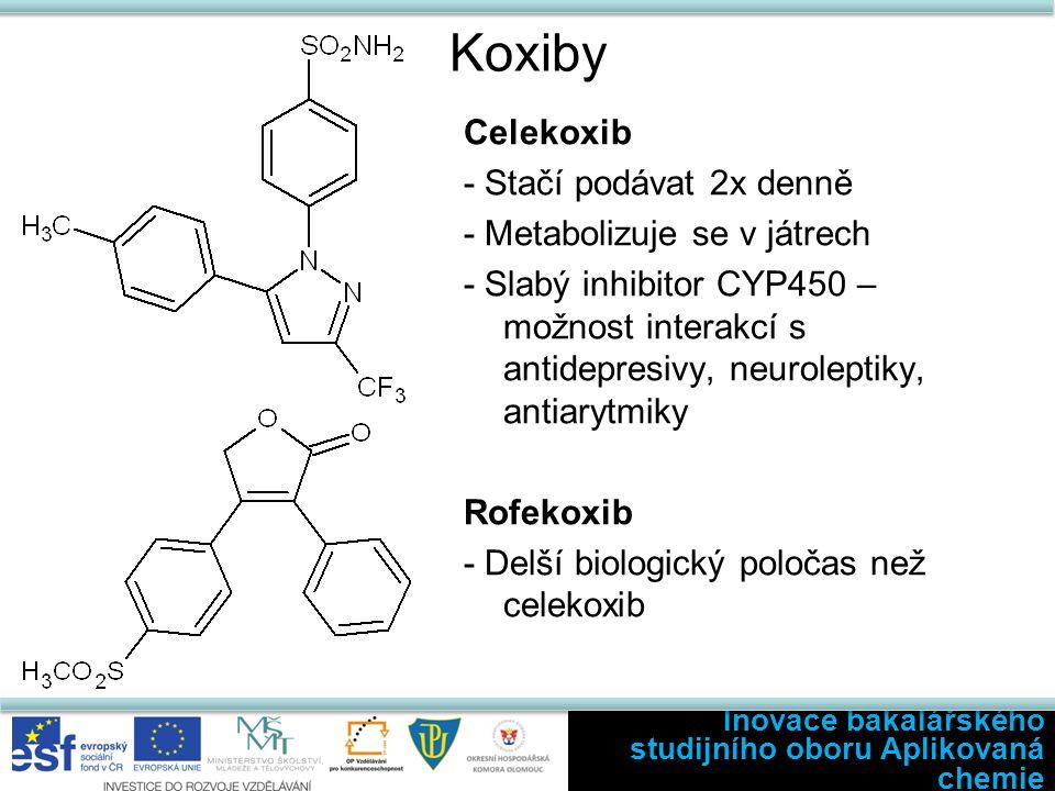 Koxiby Celekoxib - Stačí podávat 2x denně - Metabolizuje se v játrech - Slabý inhibitor CYP450 – možnost interakcí s antidepresivy, neuroleptiky, antiarytmiky Rofekoxib - Delší biologický poločas než celekoxib Inovace bakalářského studijního oboru Aplikovaná chemie