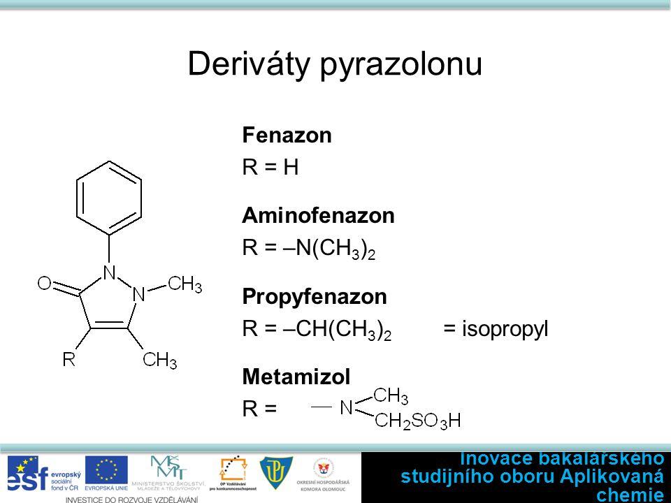 Deriváty pyrazolonu Fenazon R = H Aminofenazon R = –N(CH 3 ) 2 Propyfenazon R = –CH(CH 3 ) 2 = isopropyl Metamizol R = Inovace bakalářského studijního oboru Aplikovaná chemie