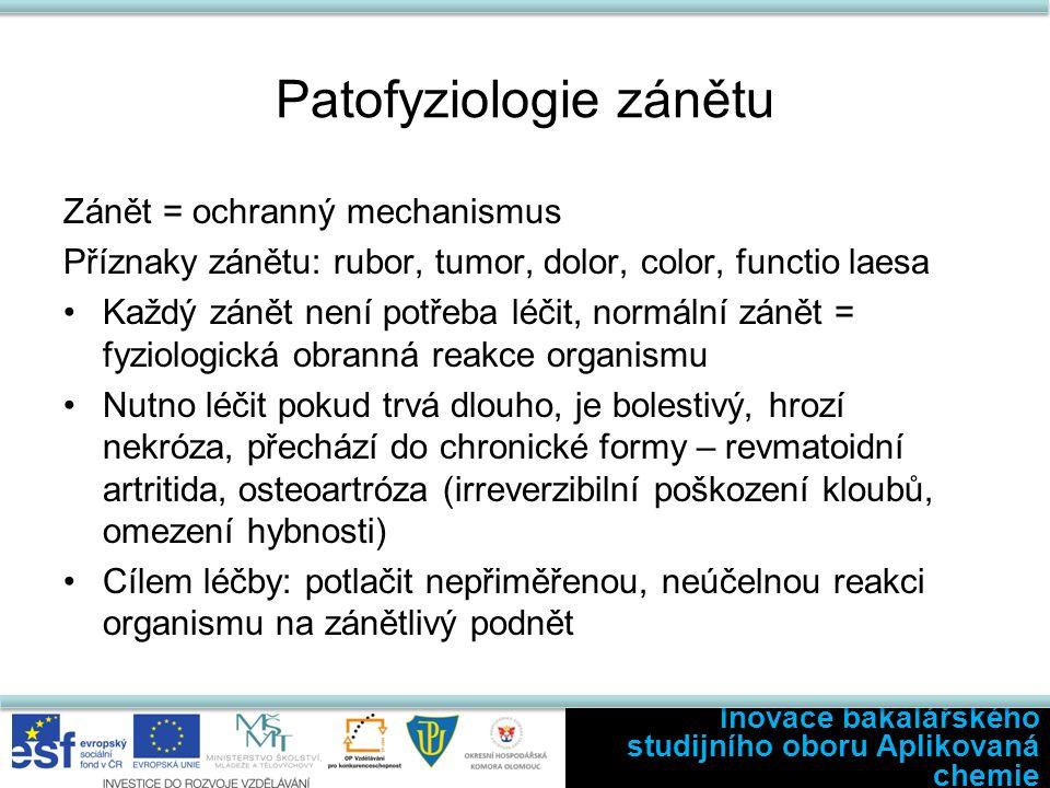 Patofyziologie zánětu Zánět = ochranný mechanismus Příznaky zánětu: rubor, tumor, dolor, color, functio laesa Každý zánět není potřeba léčit, normální zánět = fyziologická obranná reakce organismu Nutno léčit pokud trvá dlouho, je bolestivý, hrozí nekróza, přechází do chronické formy – revmatoidní artritida, osteoartróza (irreverzibilní poškození kloubů, omezení hybnosti) Cílem léčby: potlačit nepřiměřenou, neúčelnou reakci organismu na zánětlivý podnět Inovace bakalářského studijního oboru Aplikovaná chemie