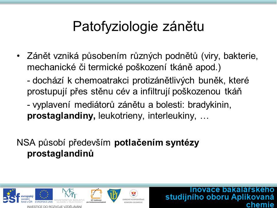 Prostaglandiny Vznik: Buněčná stimulace → aktivace fosfolipazy A 2 → štěpení eikosanoidů (lipidy plazmatické membrány) na kys.