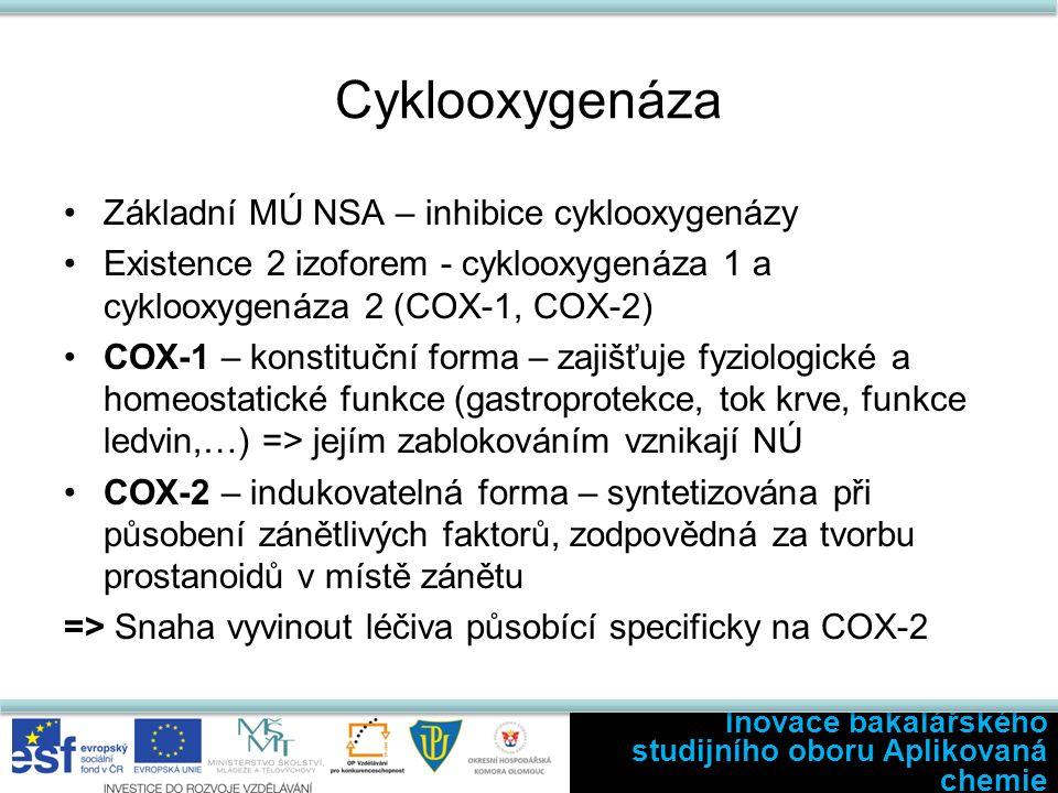 Cyklooxygenáza Základní MÚ NSA – inhibice cyklooxygenázy Existence 2 izoforem - cyklooxygenáza 1 a cyklooxygenáza 2 (COX-1, COX-2) COX-1 – konstituční forma – zajišťuje fyziologické a homeostatické funkce (gastroprotekce, tok krve, funkce ledvin,…) => jejím zablokováním vznikají NÚ COX-2 – indukovatelná forma – syntetizována při působení zánětlivých faktorů, zodpovědná za tvorbu prostanoidů v místě zánětu => Snaha vyvinout léčiva působící specificky na COX-2 Inovace bakalářského studijního oboru Aplikovaná chemie