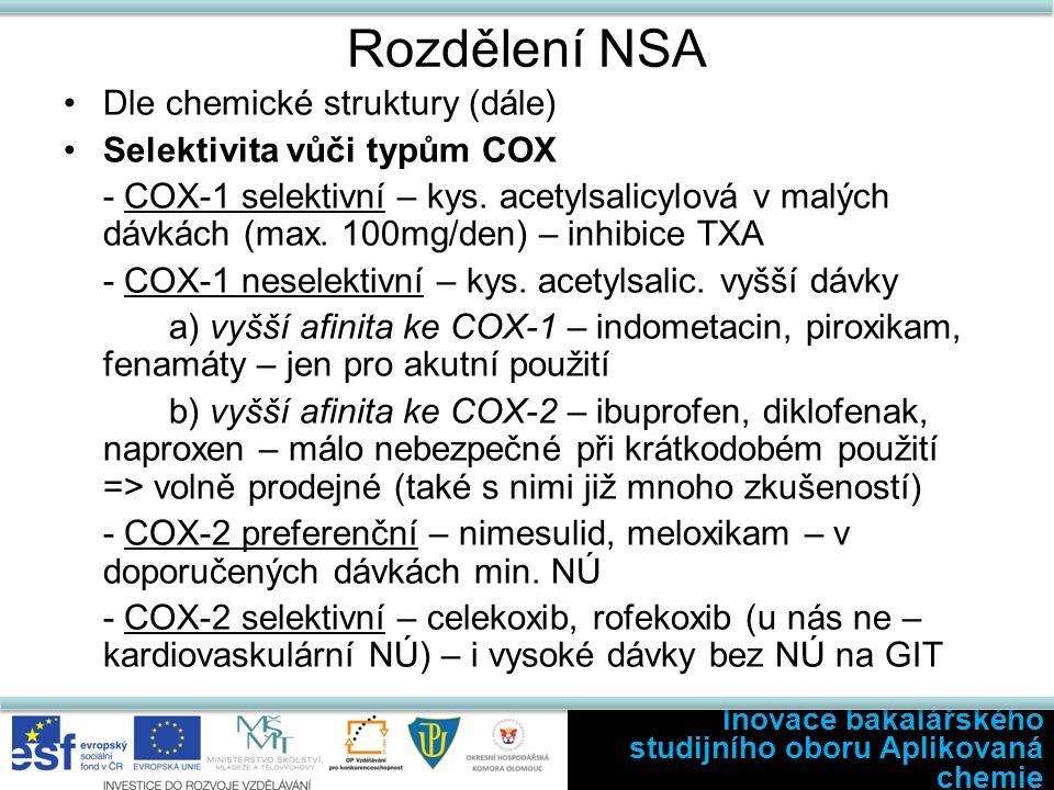 Fenaky Indometacin – jeden z nejsilnějších inhibitorů COX - časté a závažné NÚ (GIT poruchy, bolesti hlavy, deprese, zmatenost, poškození krvetvorby – trombocytopenie) - užití jen krátkodobě u akutních stavů specifických onemocnění (perikarditida, zánět žil,…) Sulindak a tolmentin - menší NÚ, ale i nižší účinnost než indometacin Inovace bakalářského studijního oboru Aplikovaná chemie