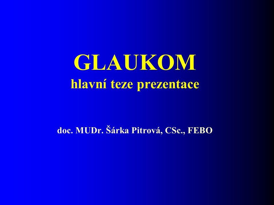 GLAUKOM hlavní teze prezentace doc. MUDr. Šárka Pitrová, CSc., FEBO