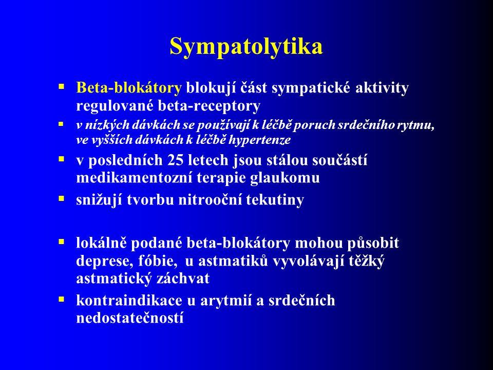 Sympatolytika  Beta-blokátory blokují část sympatické aktivity regulované beta-receptory  v nízkých dávkách se používají k léčbě poruch srdečního rytmu, ve vyšších dávkách k léčbě hypertenze  v posledních 25 letech jsou stálou součástí medikamentozní terapie glaukomu  snižují tvorbu nitrooční tekutiny  lokálně podané beta-blokátory mohou působit deprese, fóbie, u astmatiků vyvolávají těžký astmatický záchvat  kontraindikace u arytmií a srdečních nedostatečností