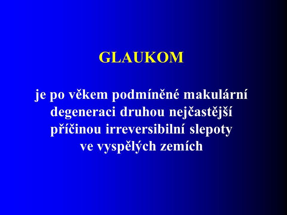  Glaukom je multifaktoriální onemocnění vrstvy nervových vláken charakterizované progresivním úbytkem axonů  Glaukomové poškození je definováno jako ztráta gangliových buněk sítnice a jejich axonů, které vedou jako zrakový nerv do mozku.