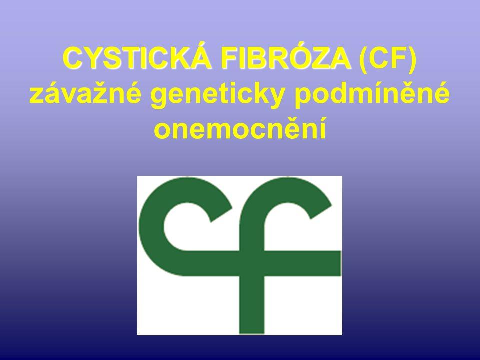 CYSTICKÁ FIBRÓZA CYSTICKÁ FIBRÓZA (CF) závažné geneticky podmíněné onemocnění