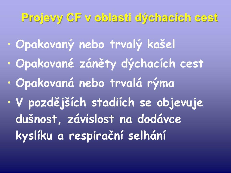 Projevy CF v oblasti dýchacích cest Opakovaný nebo trvalý kašel Opakované záněty dýchacích cest Opakovaná nebo trvalá rýma V pozdějších stadiích se objevuje dušnost, závislost na dodávce kyslíku a respirační selhání