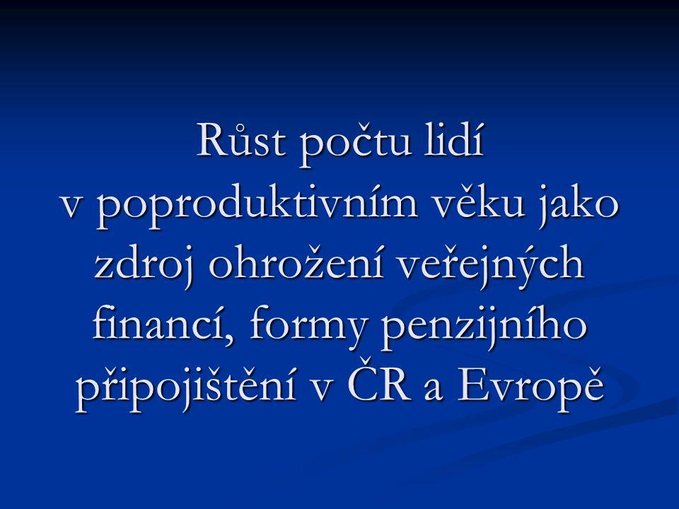 Růst počtu lidí v poproduktivním věku jako zdroj ohrožení veřejných financí, formy penzijního připojištění v ČR a Evropě