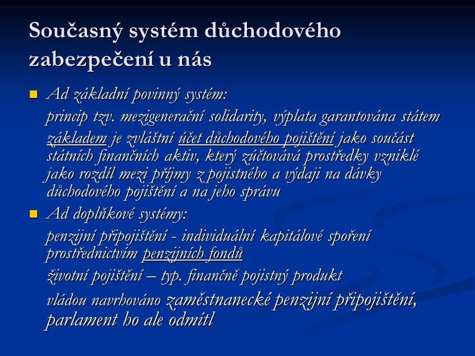 Reforma důchodového systému Bude postupně uskutečňována v rámci již probíhající reformy veřejných financí a to od roku 2006 Bude postupně uskutečňována v rámci již probíhající reformy veřejných financí a to od roku 2006 Podstatou bude přechod z dávkově definovaného na příspěvkově definovaný systém starobních důchodů - tzv.