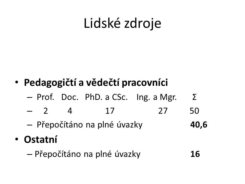 Lidské zdroje Pedagogičtí a vědečtí pracovníci – Prof.