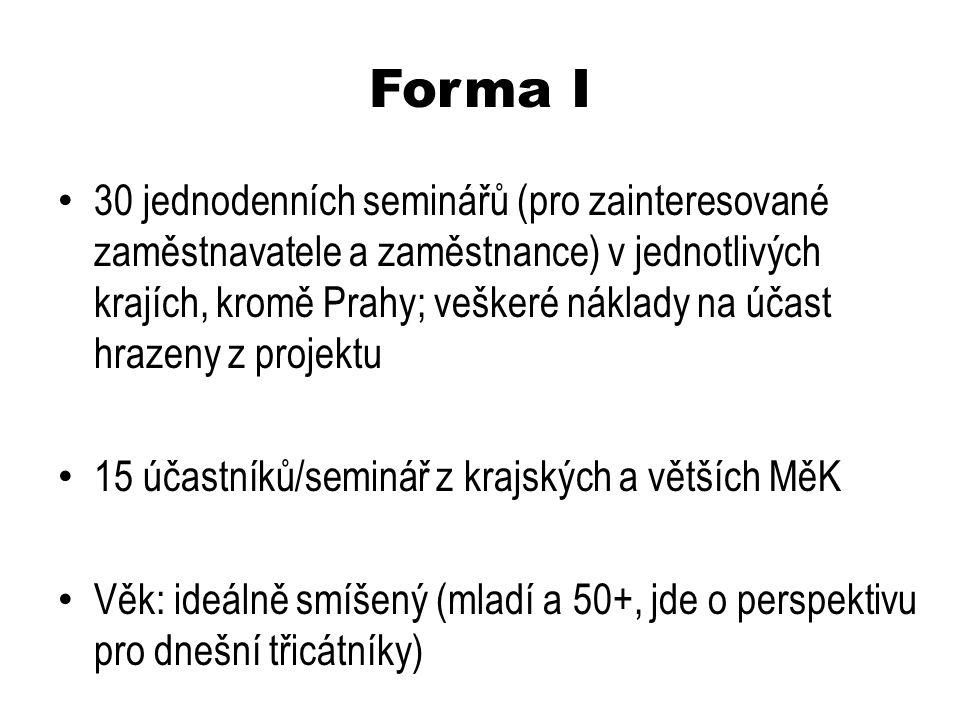 Forma I 30 jednodenních seminářů (pro zainteresované zaměstnavatele a zaměstnance) v jednotlivých krajích, kromě Prahy; veškeré náklady na účast hrazeny z projektu 15 účastníků/seminář z krajských a větších MěK Věk: ideálně smíšený (mladí a 50+, jde o perspektivu pro dnešní třicátníky)