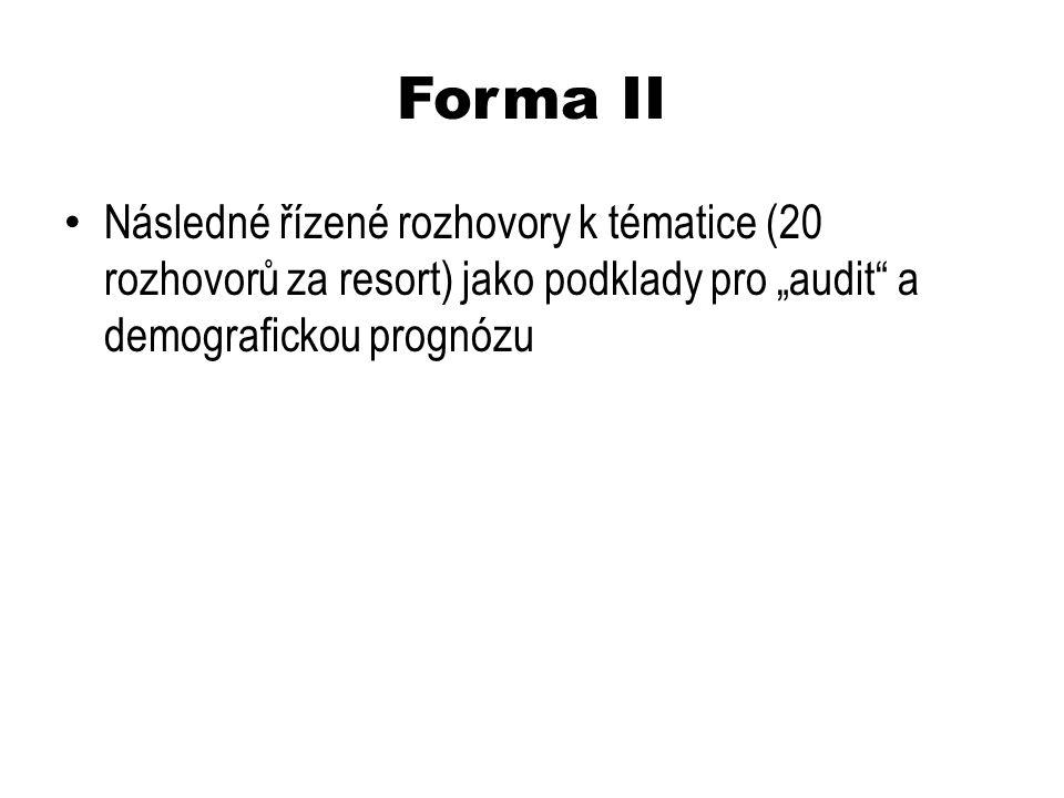 """Forma II Následné řízené rozhovory k tématice (20 rozhovorů za resort) jako podklady pro """"audit a demografickou prognózu"""