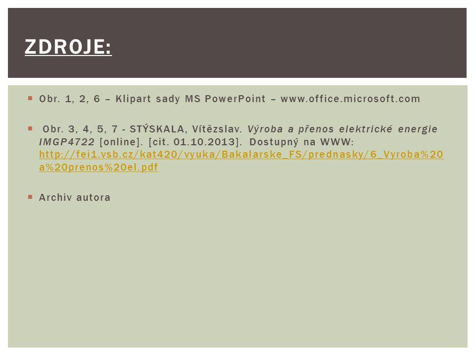  Obr. 1, 2, 6 – Klipart sady MS PowerPoint – www.office.microsoft.com  Obr. 3, 4, 5, 7 - STÝSKALA, Vítězslav. Výroba a přenos elektrické energie IMG