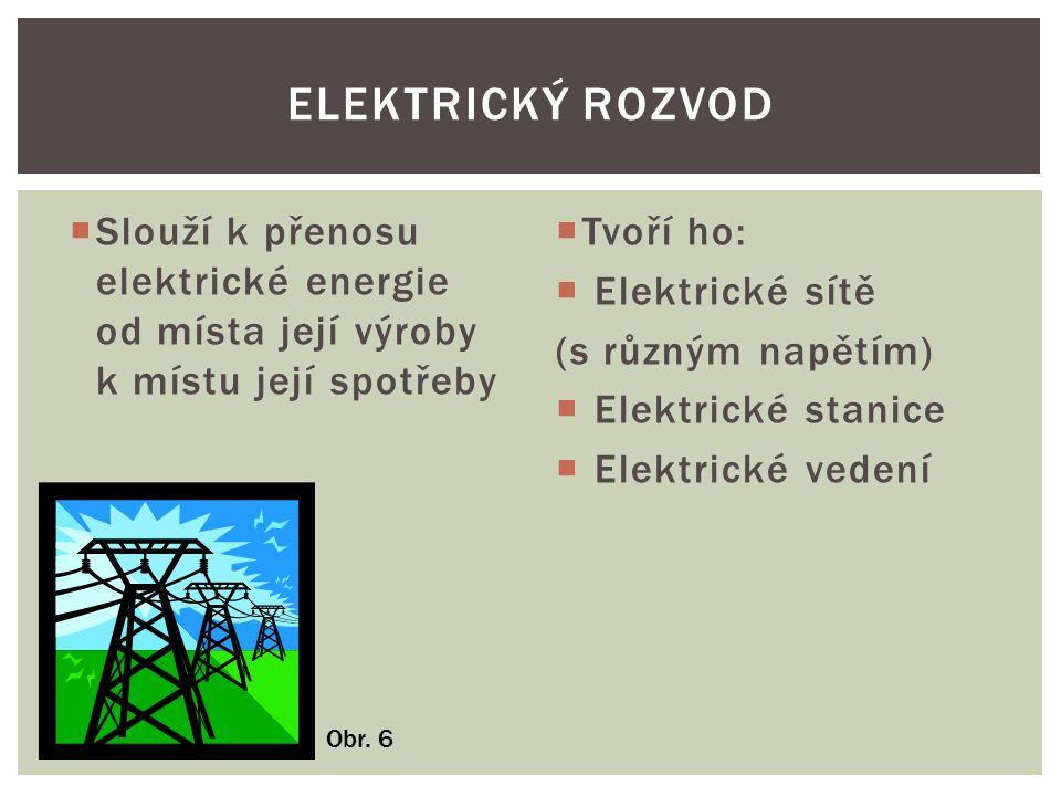  Slouží k přenosu elektrické energie od místa její výroby k místu její spotřeby  Tvoří ho:  Elektrické sítě (s různým napětím)  Elektrické stanice