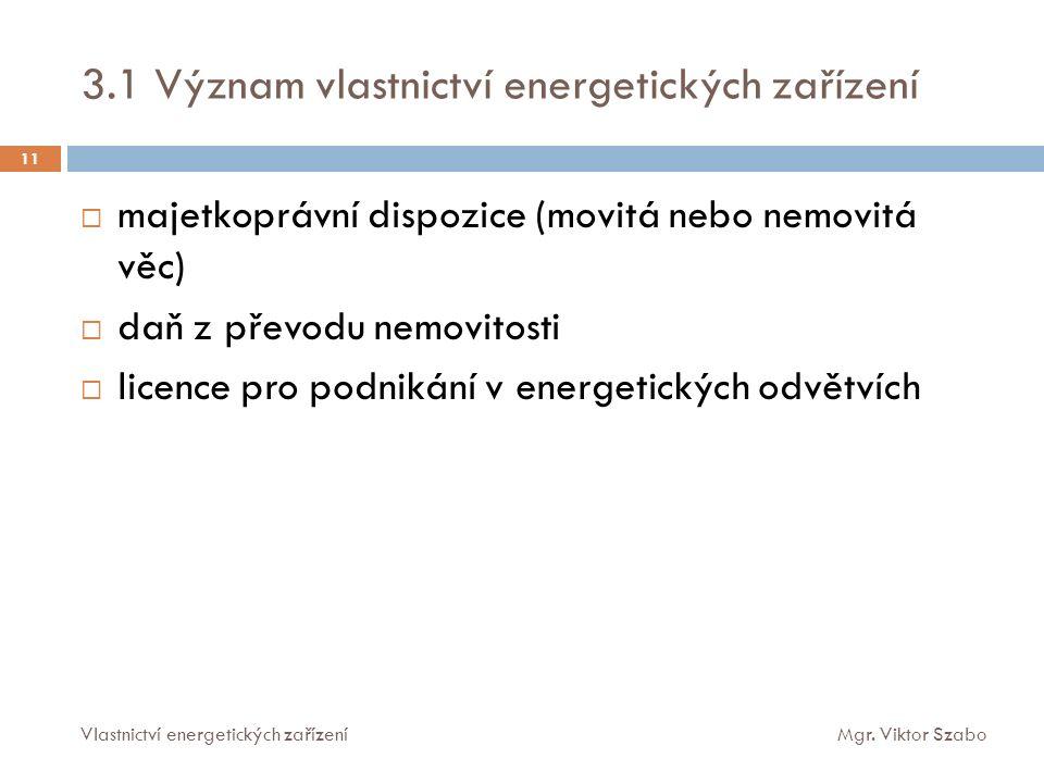 3.1 Význam vlastnictví energetických zařízení  majetkoprávní dispozice (movitá nebo nemovitá věc)  daň z převodu nemovitosti  licence pro podnikání v energetických odvětvích 11 Vlastnictví energetických zařízeníMgr.