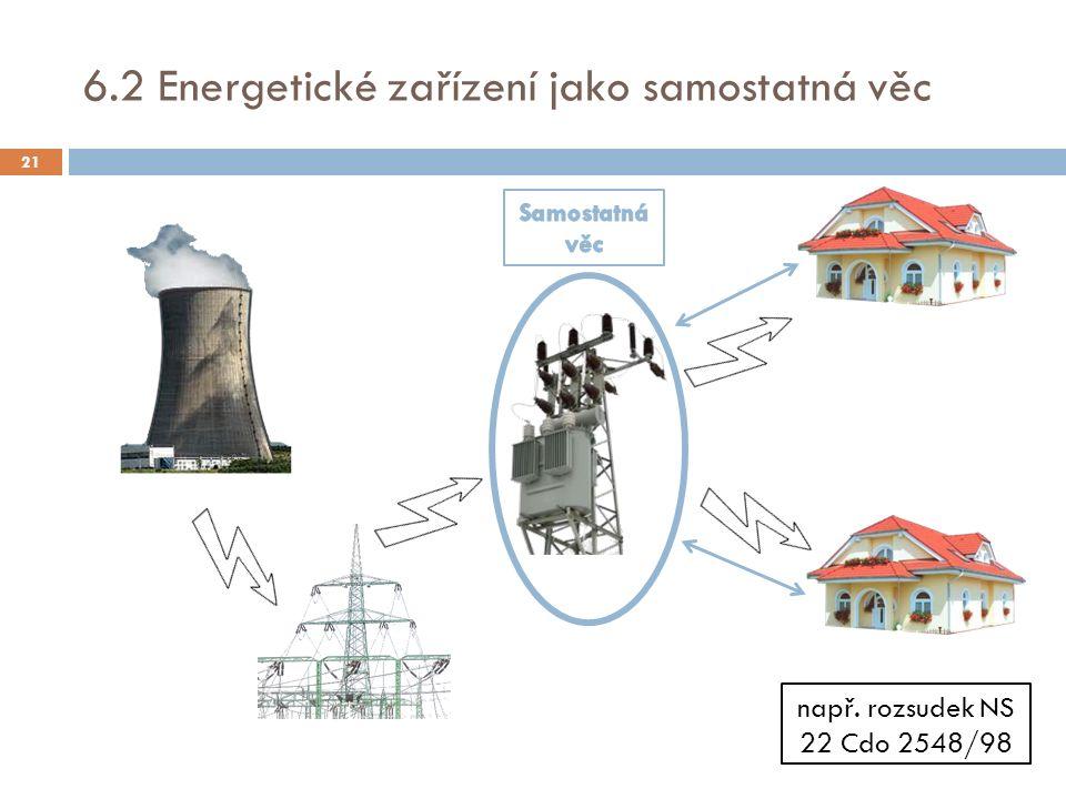 6.2 Energetické zařízení jako samostatná věc např. rozsudek NS 22 Cdo 2548/98 21